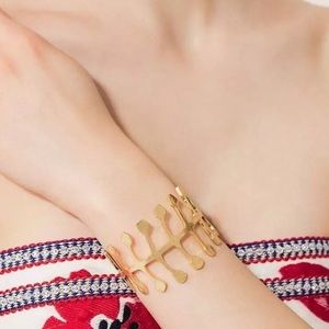 Tory Burch Jewelry - Tory Burch Fish Bone Skeleton Brass Cuff Bracelet